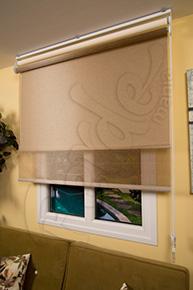 Bakır Kahve Dekoratif Dokuma Tül ve Ekru Simli Çiftli Sistem Stor Perde
