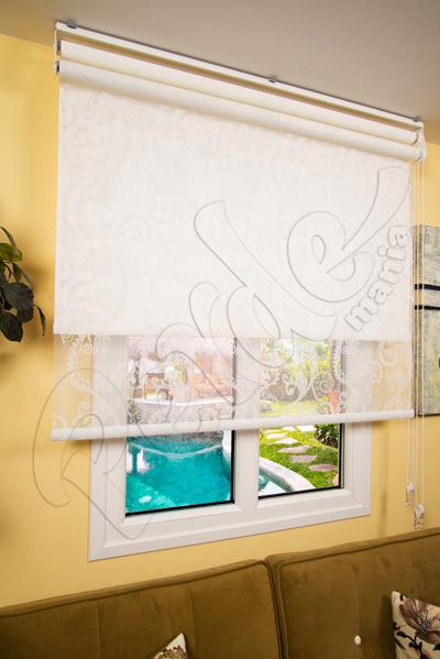 Çiftli Sistem Beyaz Dantel Desenli Tül ve Beyaz Mat Polyester Stor Perde