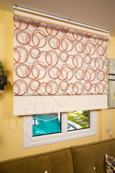 Çiftli Sistem Halka Desenli Tül ve Ekru Mat Polyester Stor Perde