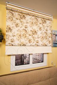Çiftli Sistem Kahverengi Çiçek Desenli Tül ve Ekru Mat Polyester Stor Perde