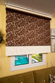 Çiftli Sistem Kahverengi Sarmaşık Desenli Tül ve Ekru Mat Polyester Stor Perde
