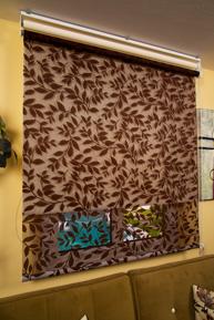 Çiftli Sistem Kahverengi Yaprak Desenli Tül ve Ekru Mat Polyester Stor Perde