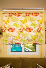 Çiftli Sistem Kelebek Desenli Tül ve Ekru Mat Polyester Stor Perde