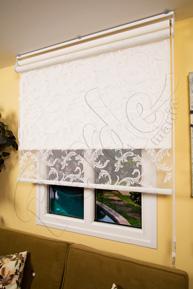 Çiftli Sistem Beyaz Melisa Tül ve Beyaz Mat Polyester Stor Perde