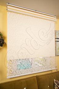 Çiftli Sistem Krem Sarmaşık Desenli Tül ve Ekru Mat Polyester Stor Perde