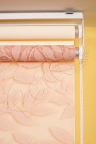 Çiftli Sistem Pudra Yaprak Desenli Tül ve Ekru Mat Polyester Stor Perde