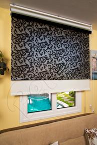 Çiftli Sistem Siyah Sarmaşık Desenli Tül ve Ekru Mat Polyester Stor Perde