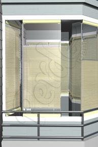 Çizgili Tül Koyu Krem Cam Balkon Perdesi
