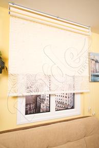 Çiftli Sistem Ekru Hare Desenli Tül ve Ekru Mat Polyester Stor Perde