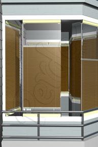 Mozaik Desenli Açık Kahve Cam Balkon Perdesi