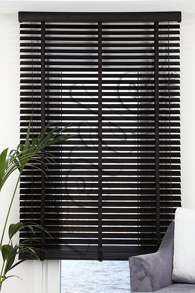 Siyah Ahşap Jaluzi Perde - 50 mm